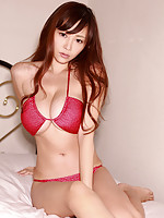 Anri Sugihara Asian shows huge tits in bra and takes skirt off