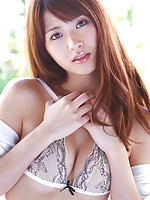 Saki Yamaguchi Asian puts shower water on her big cans over bra